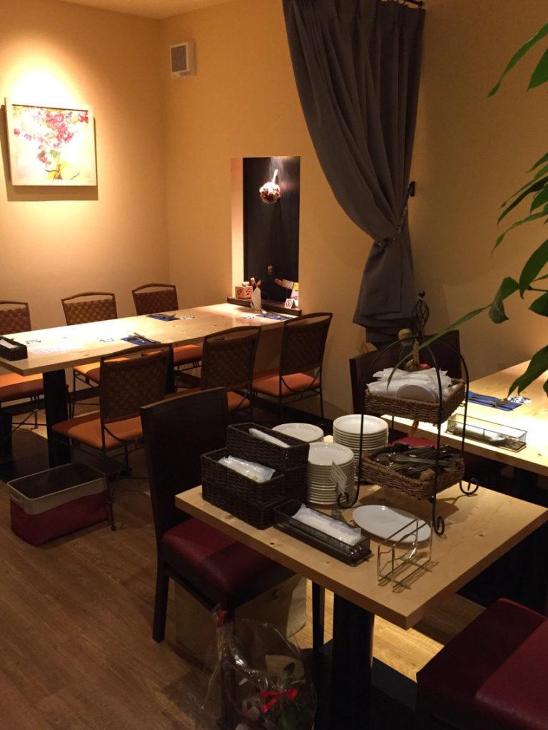 福島市のイタリアンレストラン「アクア・ディ・マーレ」の店内